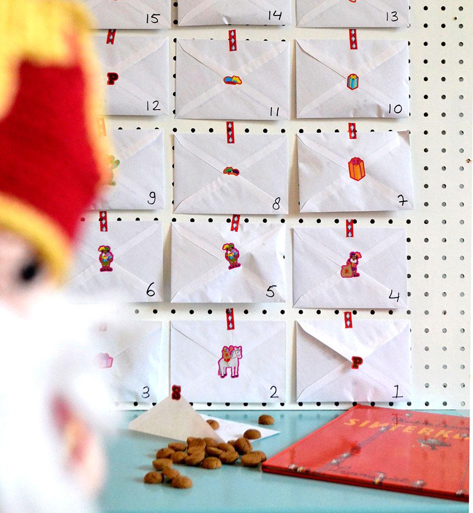 Super Sinterklaas aftelkalender met enveloppen — bij boef+mop &OP38